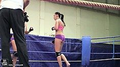Becky Stevens and Barbie Black sensuously move their hot bodies in the ring