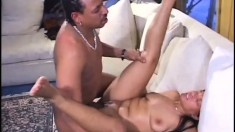 Lovely black tart spreads her legs to let in a relentless cum gun
