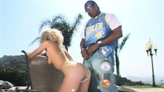 By the pool, blonde cutie Lorenna has a black guy filling her ass with his huge dick