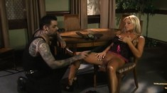 Horny blond loves to be teased, he uses a feather and a ruler