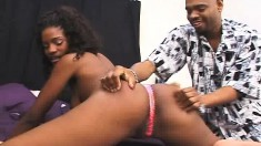 India has a black dick filling her mouth and another drilling her twat