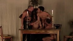 Five insatiable studs go down on each other's bulging fuck rods