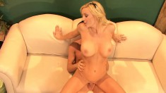 Horny blonde MILF can't get enough of this young dude's sausage