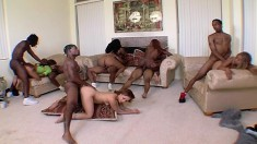 Voluptuous ebony girl gets undressed and bends over to start the orgy