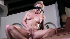 Cherie DeVille gets blindfolded and cuckolds her perverted hubby