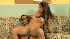 Holly Heart gets pounded doggy style before bouncing on that hard dick