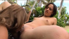 Lynn Love and Jade Kennedy engage in hot lesbian action by the pool