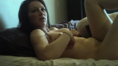 Horny and hot brunette begs her lover to explore her wet cunt