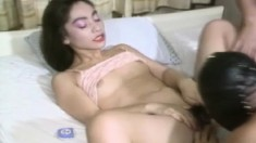 Slutty Asian housewife moans like a bitch while taking a dicking