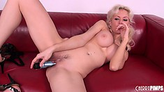 Margo slides that dildo deep in her tight peach and relishes the pleasure it gives