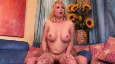 Horny blonde mom with big tits Sophia Mounds has sex with a young stud