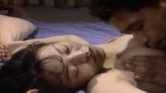 Beautiful Japanese housewife gets her peach eaten out and fucked good