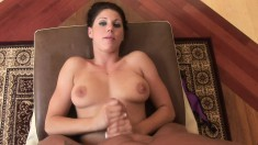 Sexy Kylie has her hands making her man's big dick burst with pleasure