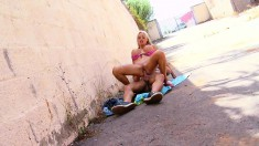 Busty blonde gets her kicks by eating dick and fucking outside