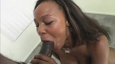 Hot ebony girl with wonderful boobs and ass loves them huge and black