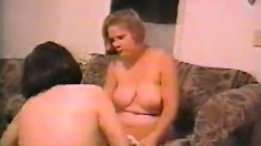 Blonde and brunette hotties get together for a steamy lesbian romance