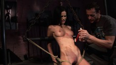 Skinny brunette tied up and big dick put in her mouth and cunt