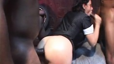 Nasty brunette Lya Pink gets on all fours to swallow a thick cum gun