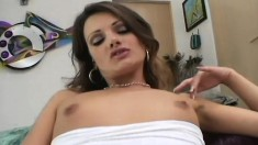 Dazzling brunette Amber buries a huge black prick deep inside her ass