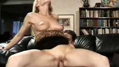 Blonde MILF Nicole gets her hairless twat hammered by a hard prick