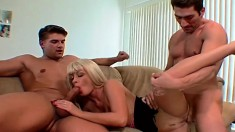 Blonde in a FMM threesome gets herself hammered and a nasty DP