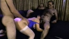 Chubby slut Ginni Lewis gets nailed hard in a gangbang and full of cum