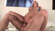 Busty blonde masturbates and her dream man comes over to fuck her