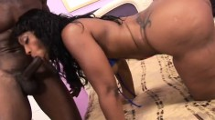 Big booty chocolate lady has a huge cock driving her snatch to orgasm