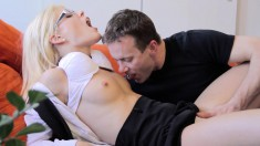Sultry blonde gets fucked hard and takes a hot cumload on her glasses