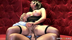 Slutty brunette bitch bounces her huge silicone tits getting fucked