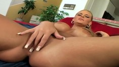 Busty blonde bombshell is eager to let in this young hunk's XXL bone