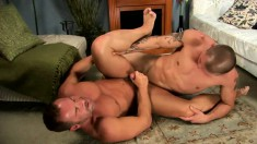 Experienced guy sucks a young stud's pole and punishes his tight ass