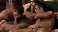 Three insatiable gay friends get together for some intense anal action