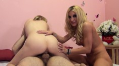 Horny MILF Amy helps young Allie have a squirting orgasm in a hot threesome