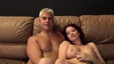 Ravishing redhead Sarah Blake rides the sybian and enjoys a hard dick