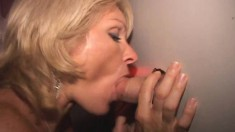 Gloryhole nympho with great oral skills gets her fiery holes creampied