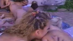 Lesbian girls having sensual group sex
