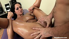 She spreads wide and gets his throbbing cock buried in her twat