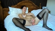 Stockings babe masturbation and first time anal fuck