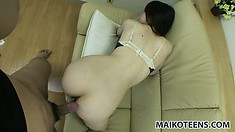 Aki is getting toy fucked and then eats cock before the real fucking
