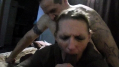 Femdom cuckold with interracial blowjob from brunette