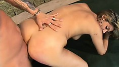 The wild babe spreads her ass cheeks and he pounds her aching pussy deep from behind