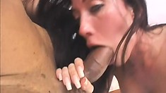 The stacked brunette lies on the bed and he sends his huge rod exploring her pussy