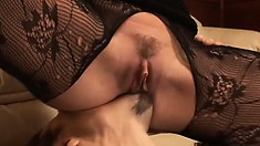Busty brunette babe gets her submissive man to eat her ass out