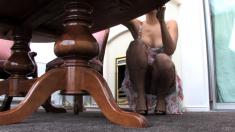 Sensual blonde milf with big pale boobs licks balls in POV