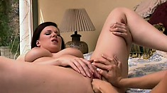 Voluptuous Lesbian Couple Satisfy Each Other With Hot Sex Toys