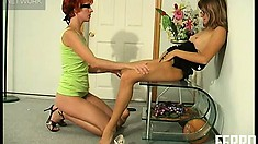 Neat Red-haired Bitch Maria Gets Teased By Her Strict Partner Susanna