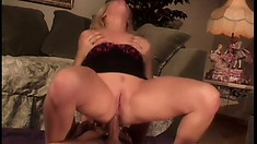 Buxom blonde seduces the delivery guy and he bangs her fiery holes like she desires