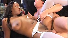 Voluptuous ebony nurse in sexy lingerie sucks and fucks the white stud's big dick