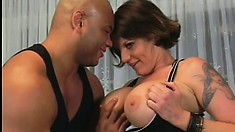 Buxom Kayla Quinn gets a big black pecker to choke on and fuck her hard